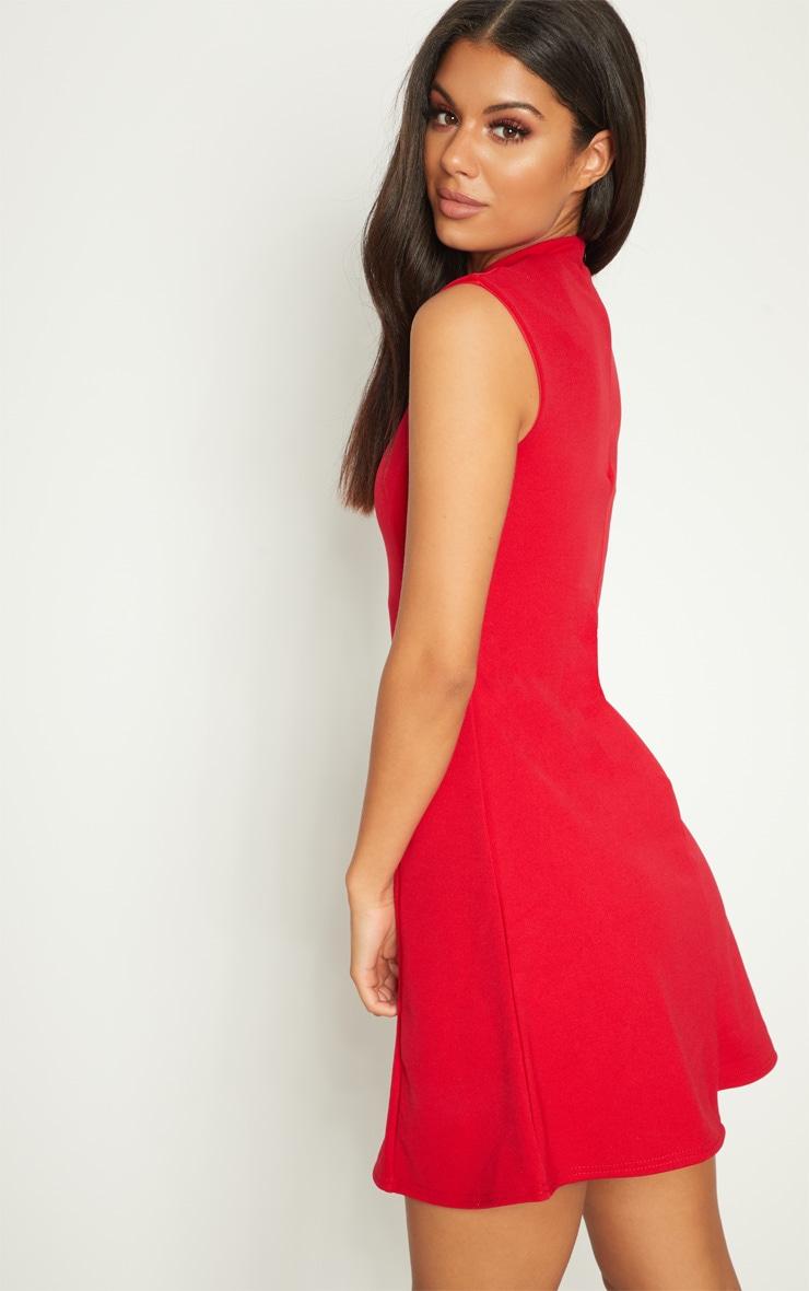 Red High Neck Shoulder Pad Detail Skater Dress 2