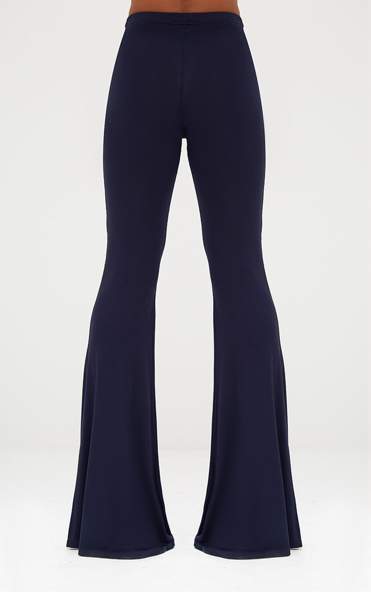 Navy Basic Jersey Flared Trousers 4