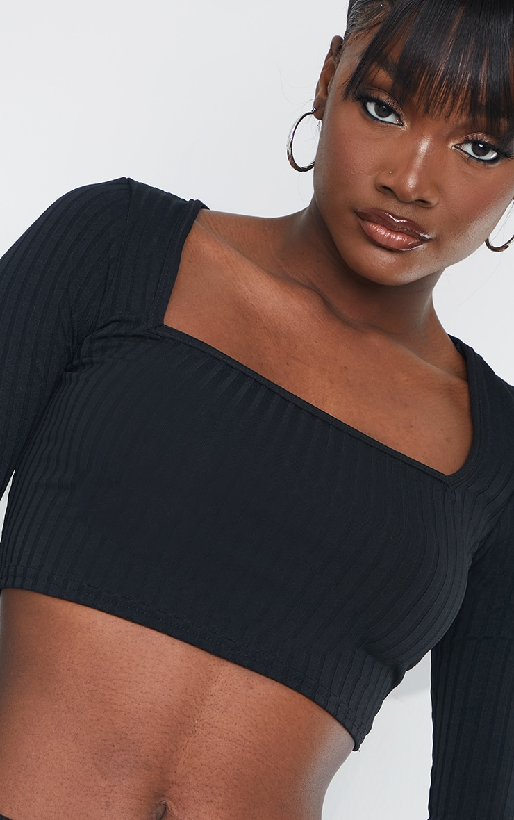 Tall Black Square Neck Ribbed Long Sleeve Crop Top 4