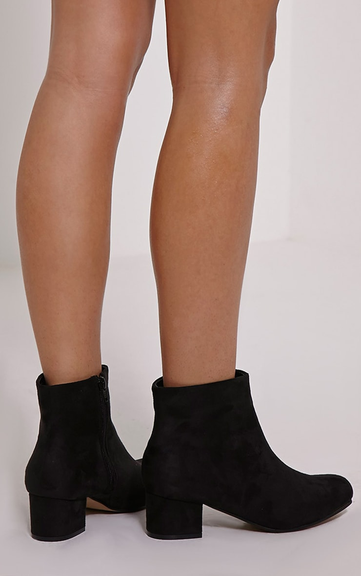 Stellah Black Faux Suede Heeled Ankle Boots 2