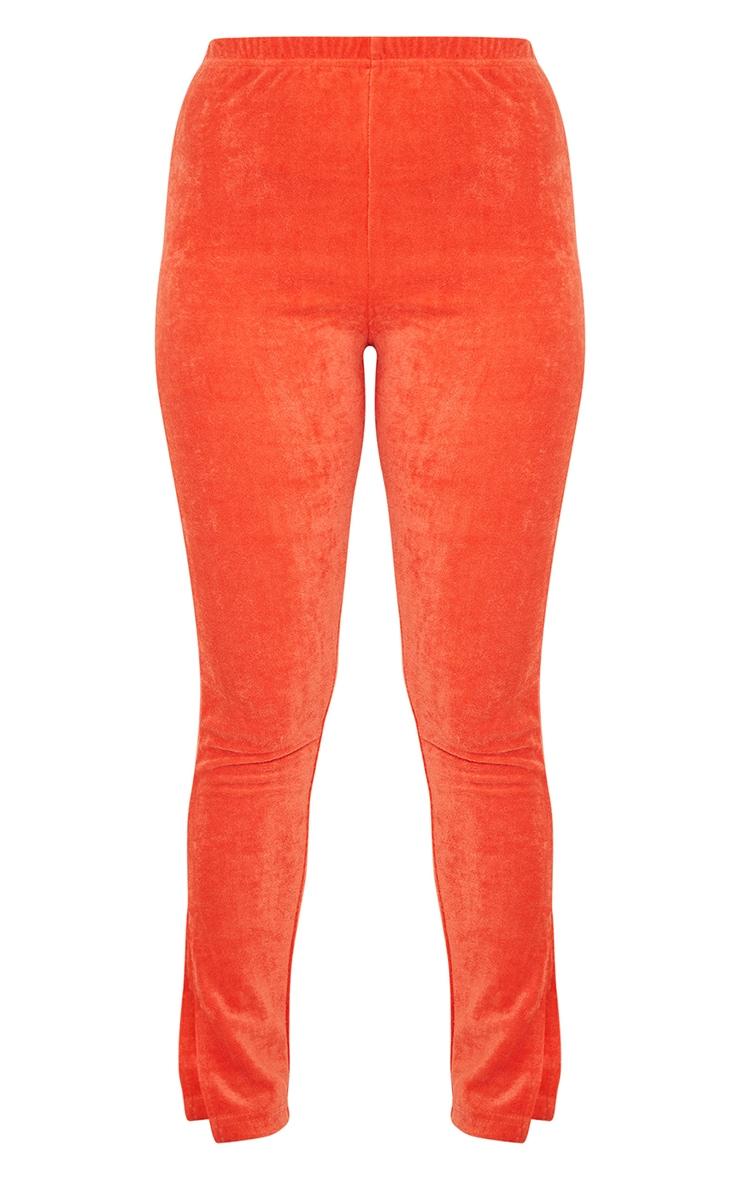 Petite Orange Velour Split Hem Leggings 5