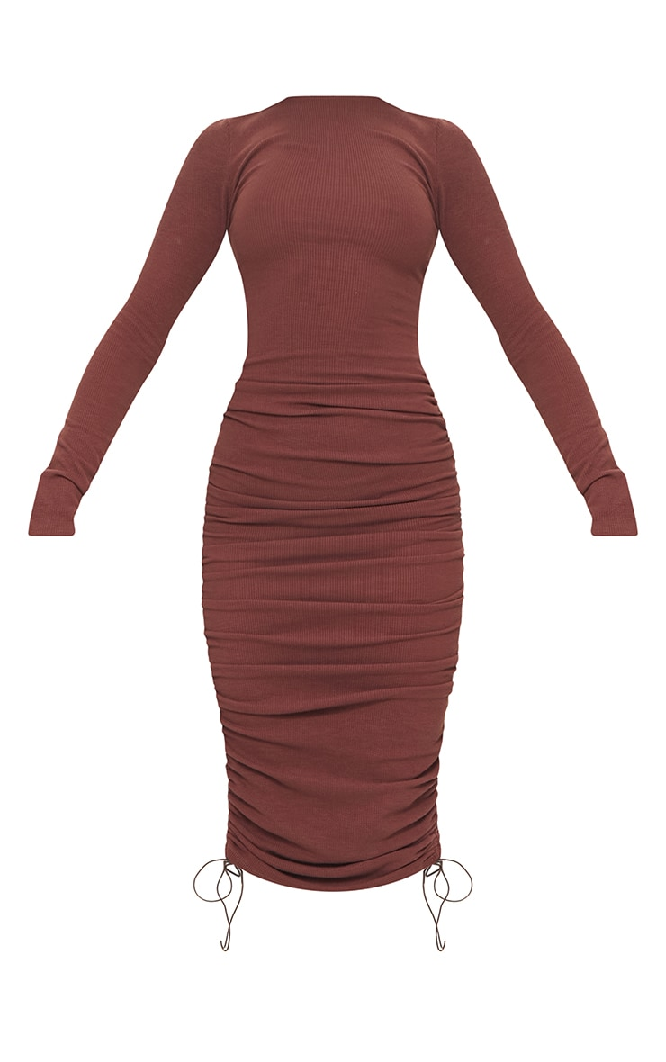 Chocolate Brown Ribbed Long Sleeve Ruched Midi Dress 5