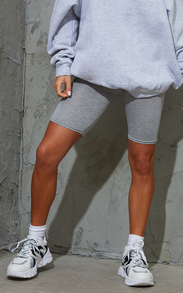 Petite Grey Marl Basic Cycle Shorts 2