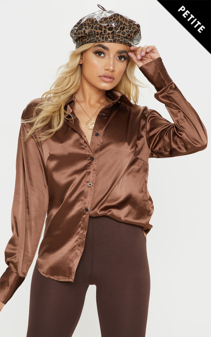 Petite Brown Long Sleeve Satin Shirt by Prettylittlething