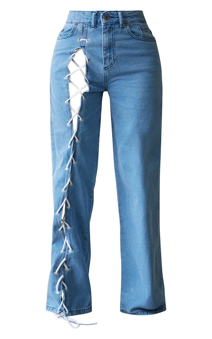 PRETTYLITTLETHING Shape Vintage Lace Up Side Wide Leg Jeans 5