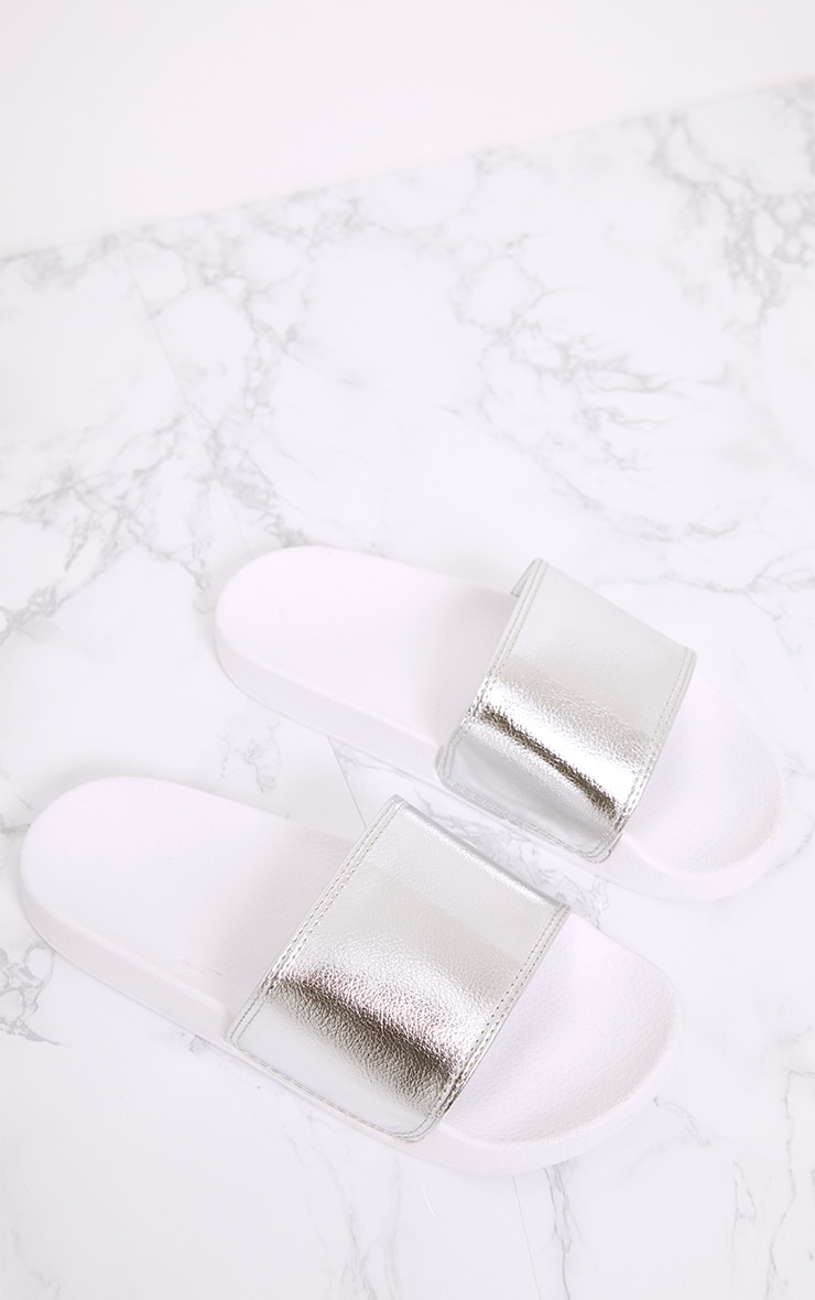 Jenetta Silver Metallic Sliders 1