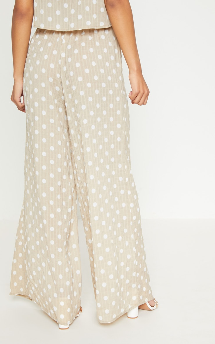 Stone Cheesecloth Polka Dot Wide Leg Trousers 4
