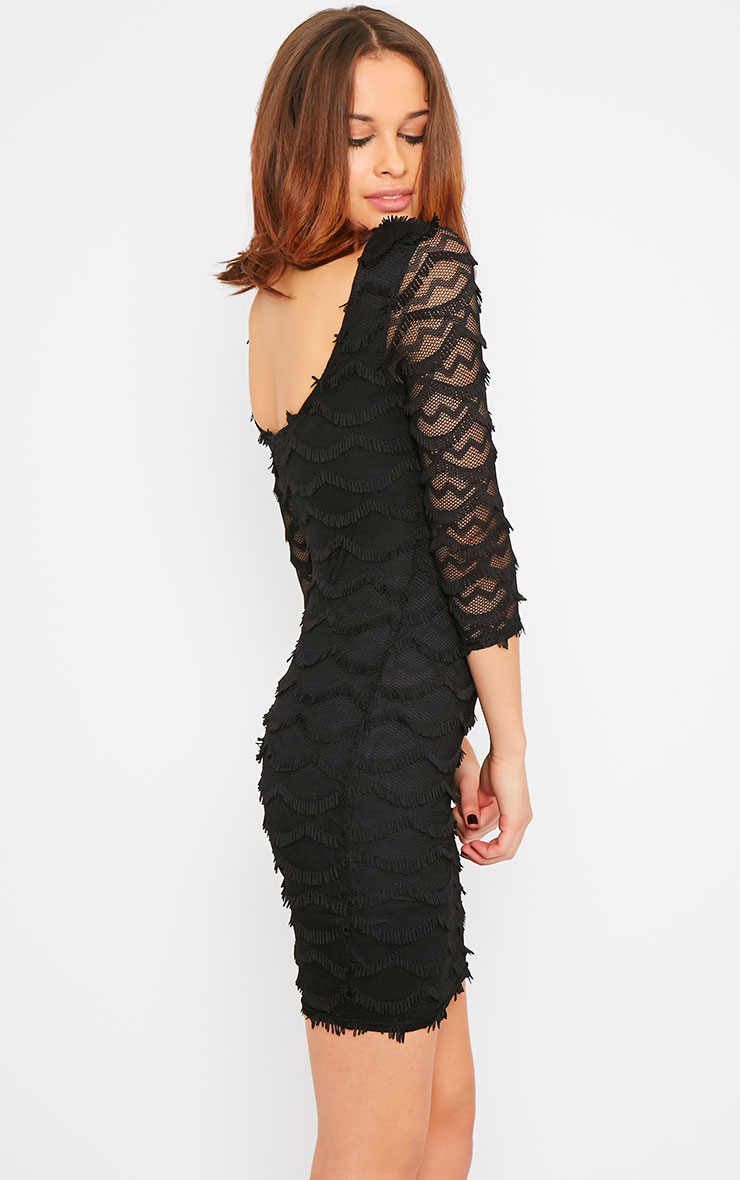 Valentina Black Eyelash Sleeve Dress 4