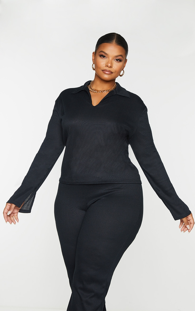 Plus Black Ribbed Collared Long Sleeve Top 1