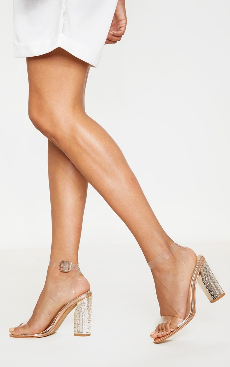 Rose Gold Clear Strap Ornate Heels 1