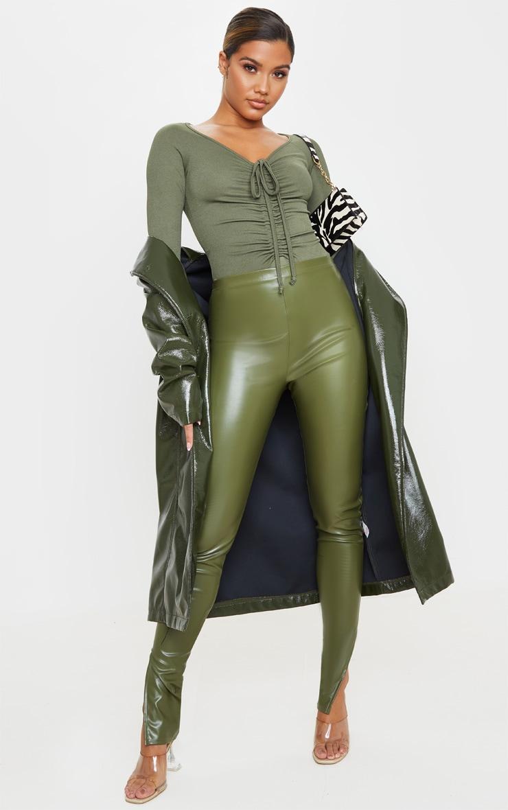 Sage Khaki Ruched Front Long Sleeve Bodysuit 5