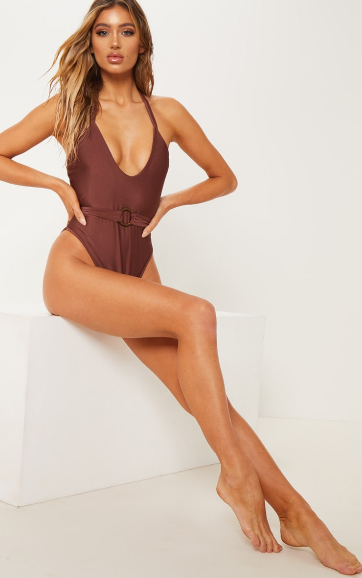 Chocolate Tortoise Ring Belted Swimsuit 4