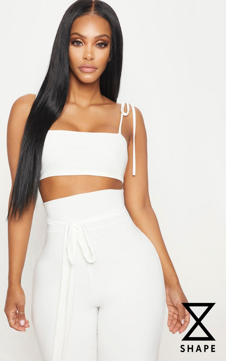 Shape White Slinky Straight Neck Crop Top