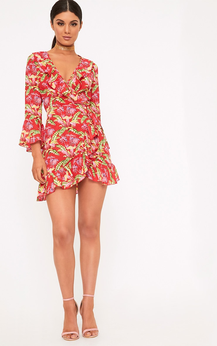 Ivy Red Floral Print Frill Wrap Tea Dress  4
