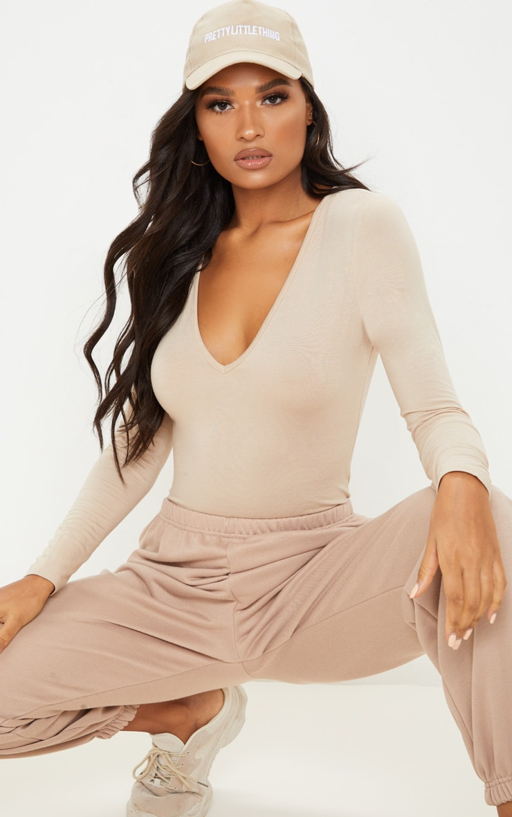 Basic Sand  V Neck Long Sleeve Jersey Bodysuit 1