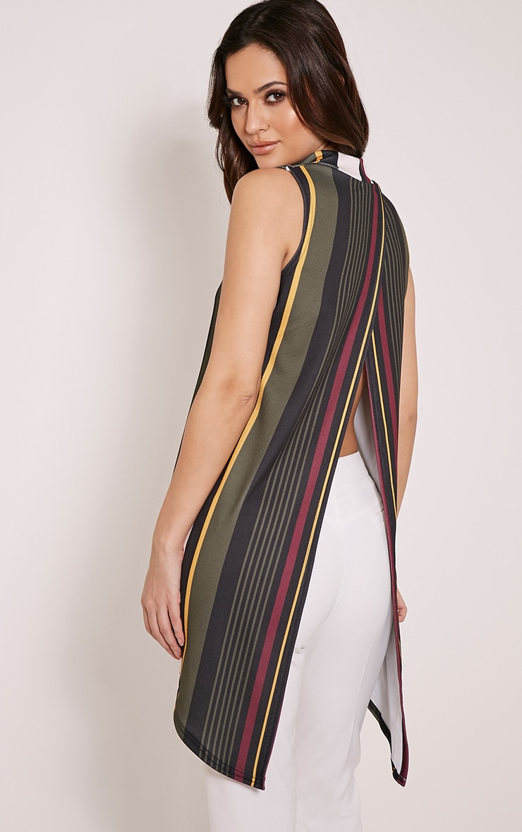 Jasmine Khaki Stripe Open Back Top 4