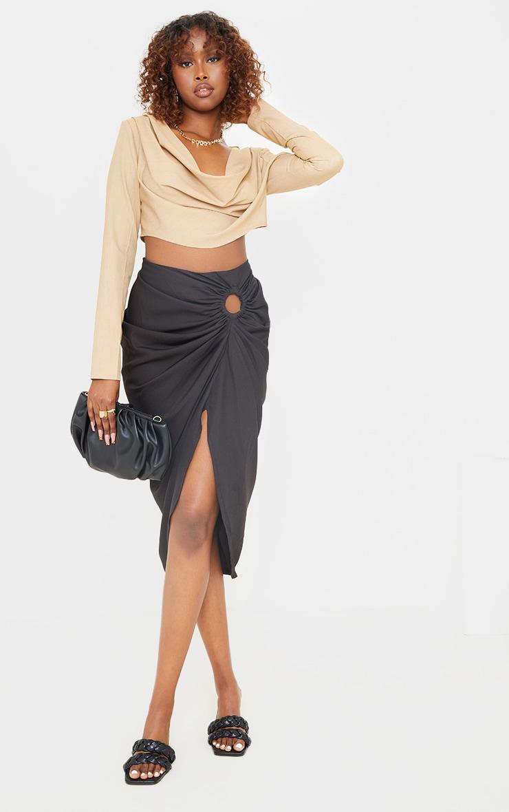 Black Woven O Ring Cut Out Drape Midi Skirt 1