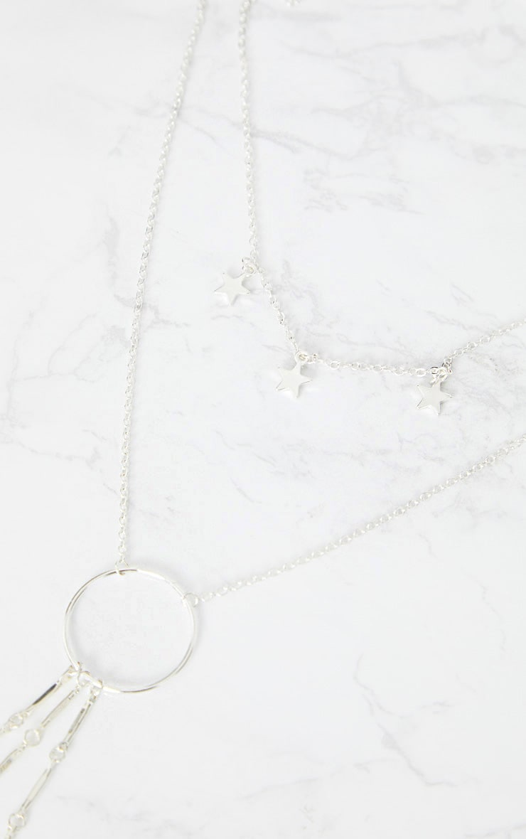 Silver Multi Layer Hoop and Star Drop Necklace 4