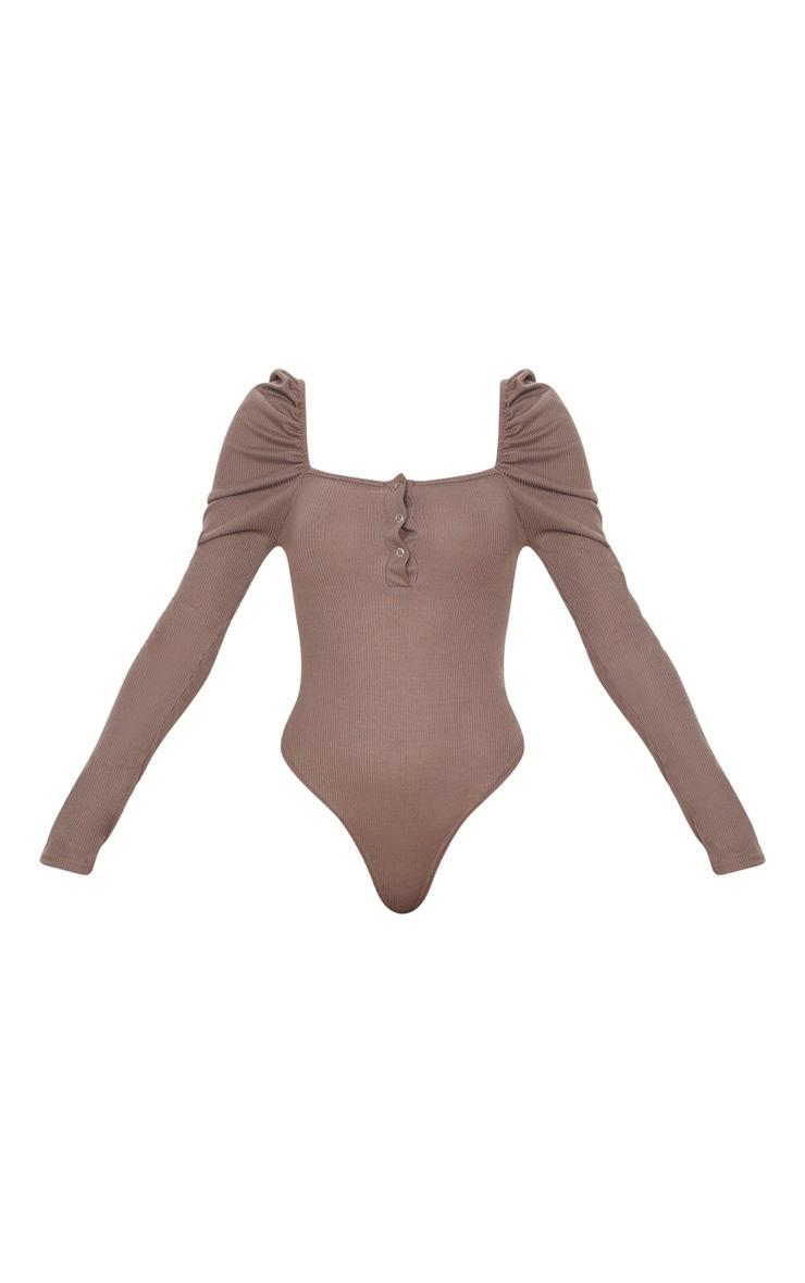 Mocha Rib Puff Long Sleeve Bodysuit 4