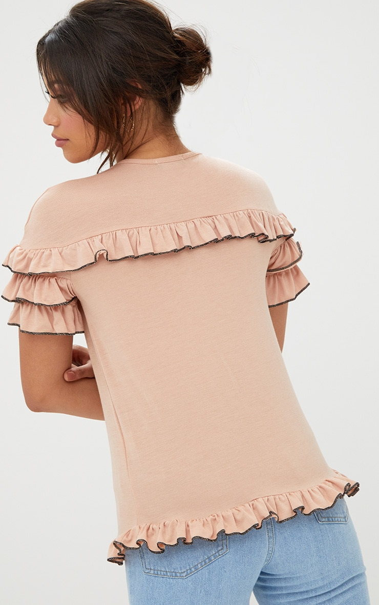 Nude Frill Contrast Edge T Shirt 2