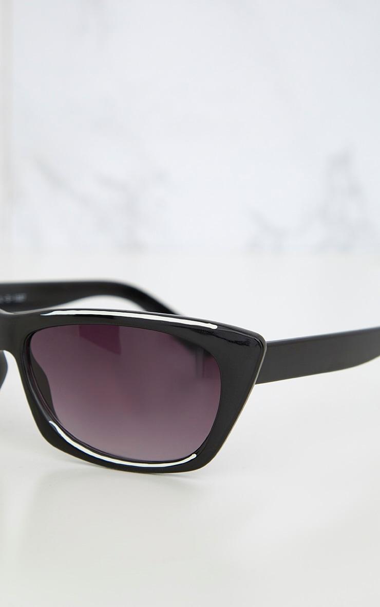 Black Wide Cat Eye Retro Sunglasses 6