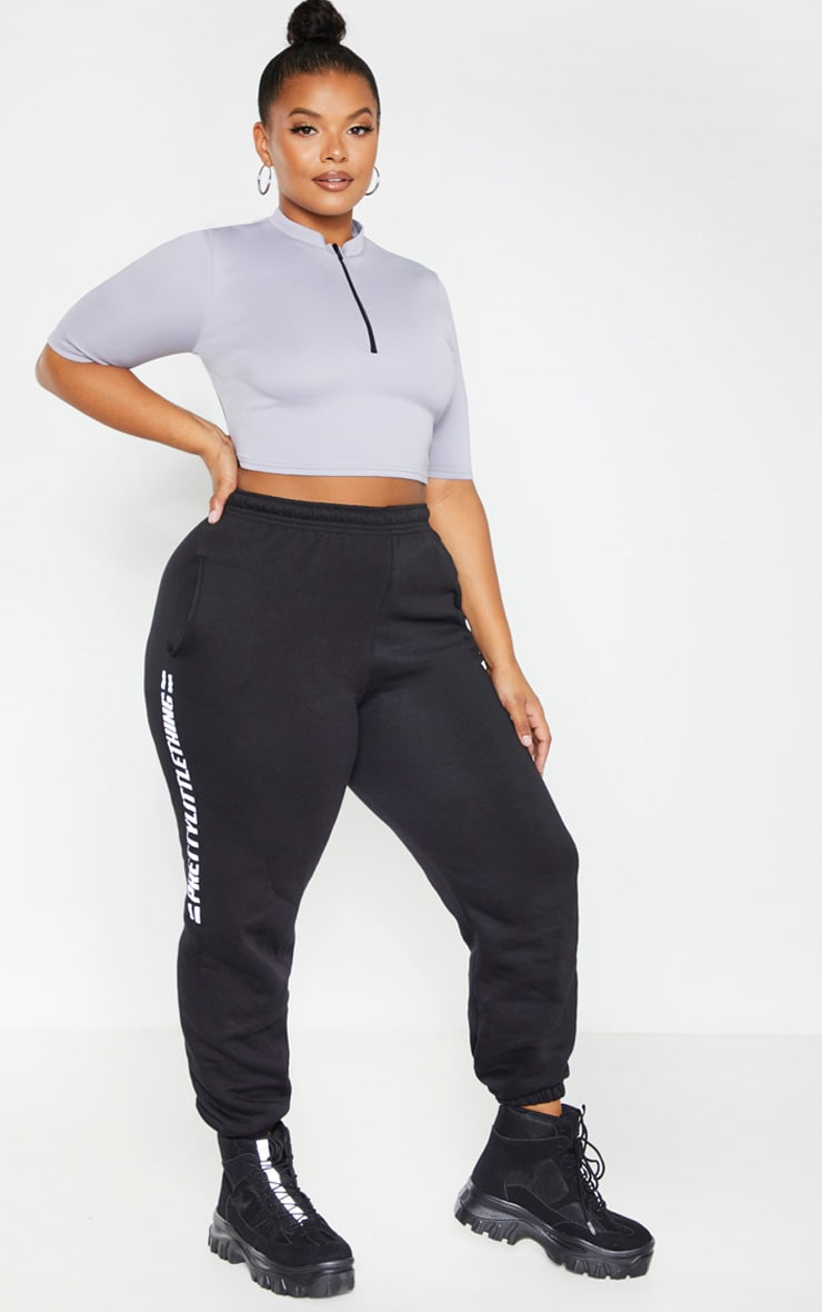 Plus Grey Scuba Zip Front Crop Top 1