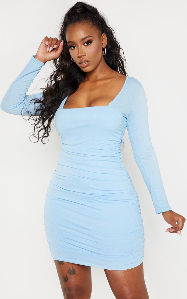Shape Dusty Blue Ruched Square Neck Bodycon Dress 1