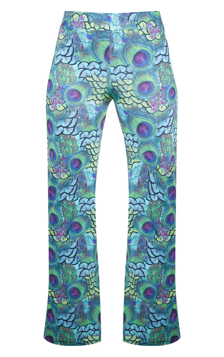 Multi Peacock Print Wide Leg Pants 4