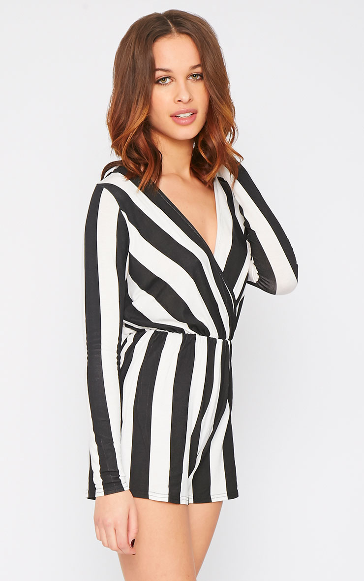 Indra Monochrome Striped Wrap Over Playsuit  7