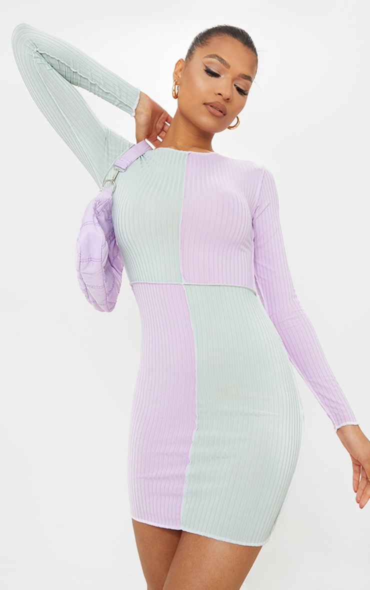 Lilac Rib Contrast Panel Stitch Detail Long Sleeve Bodycon Dress 1
