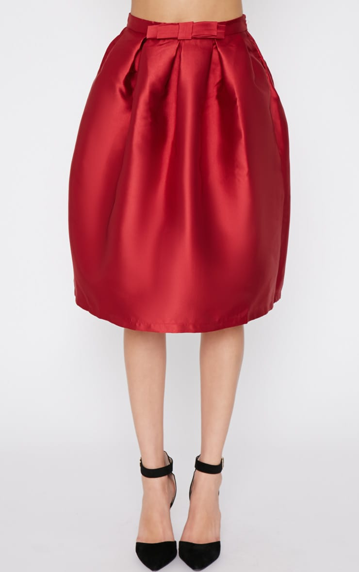 Maggy Red Satin A Line Midi Skirt  4