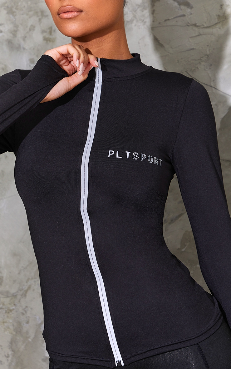 PRETTYLITTLETHING SPORT Black Reflective Zip Up Sports Top 4