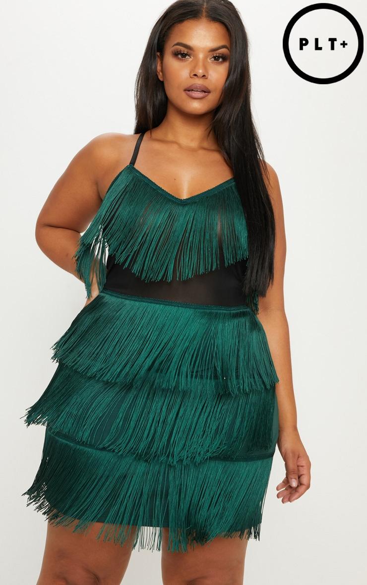 Plus Emerald Green Strappy Tassel Bodycon Dress by Prettylittlething