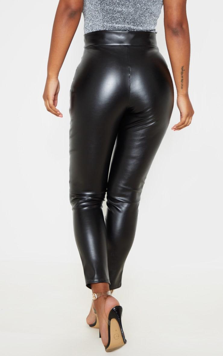 Black Faux Leather Zip Detail Skinny Pants 4