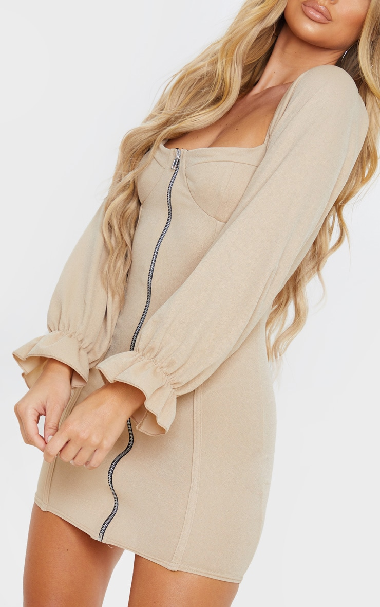 Fawn Zip Up Cup Detail Balloon Sleeve Bodycon Dress 5