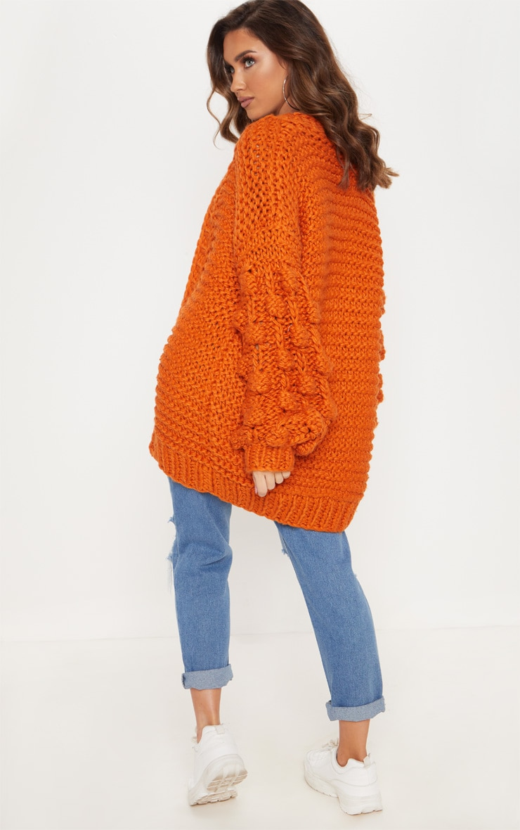Rust Midi Length Bobble Sleeve Knitted Cardigan 2