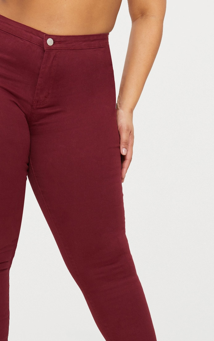 Plus Burgundy Disco Skinny Jeans 5