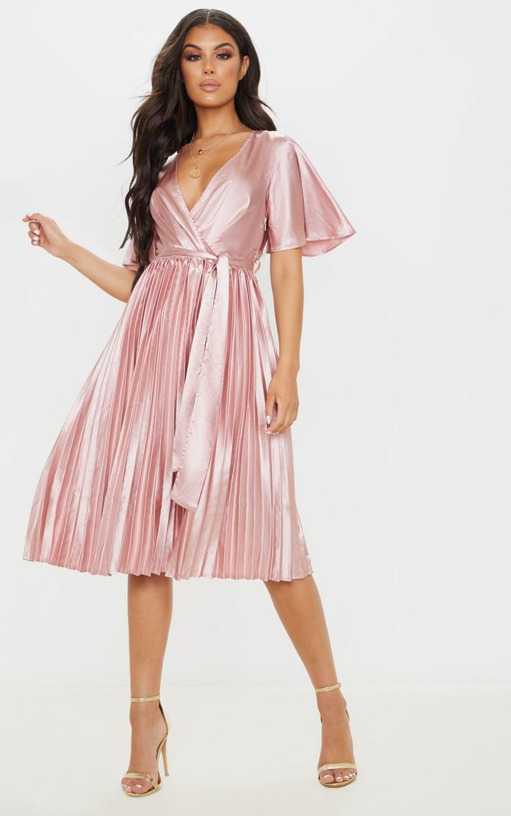 Mairee Dusty Pink Satin Pleated Midi Dress 1