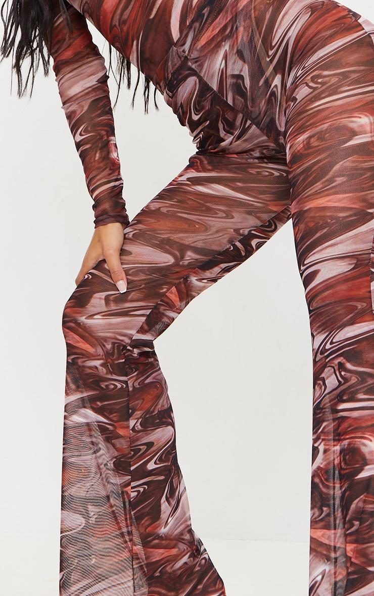 Chocolate Brown Printed Sheer Mesh Flared Pants 4