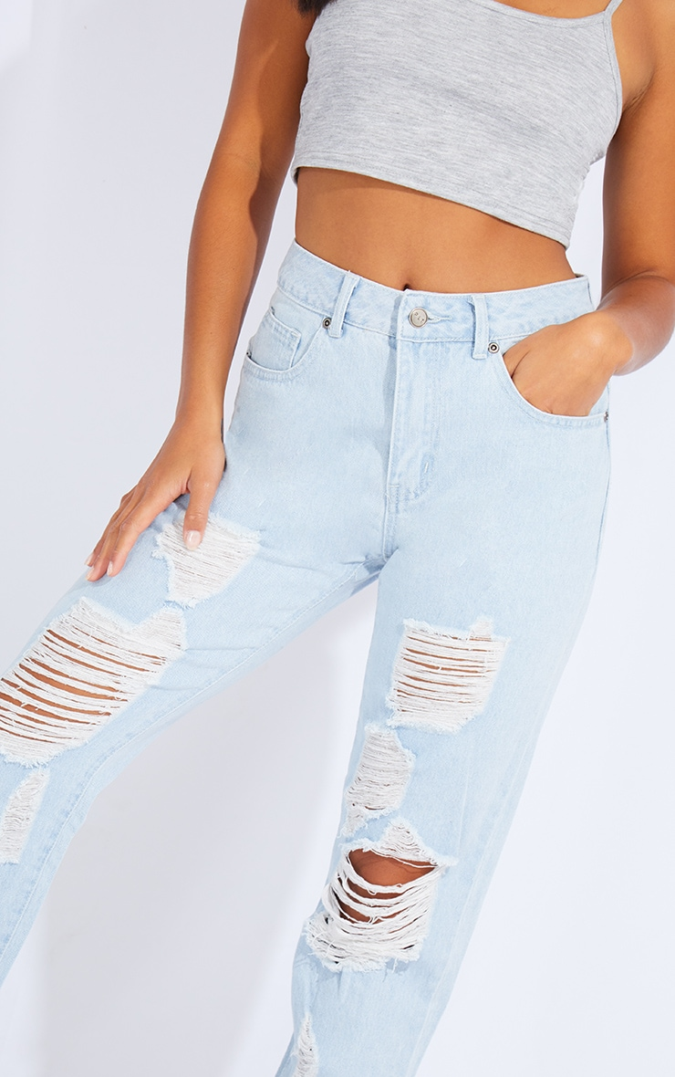 Petite Light Wash Ripped Jeans 4