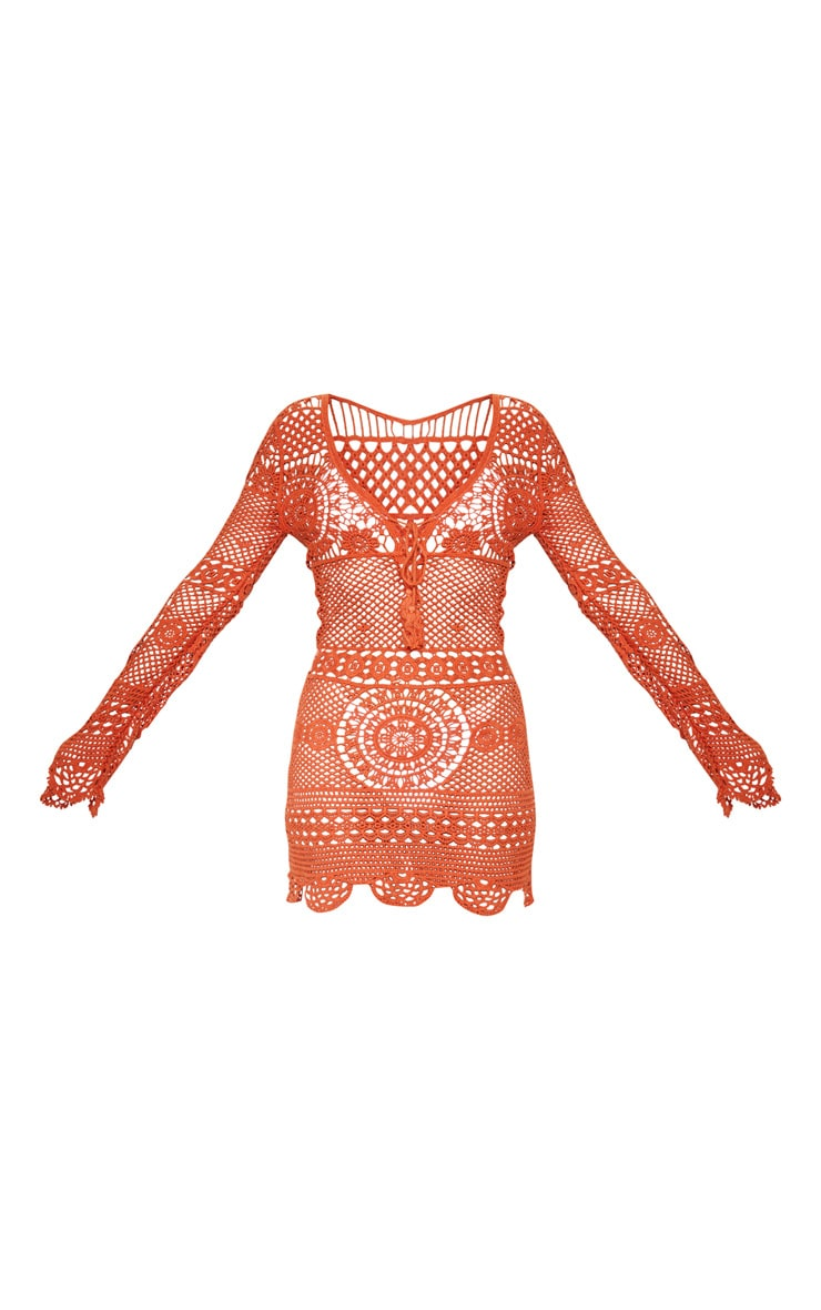 Rust Crochet Cotton Dress 3