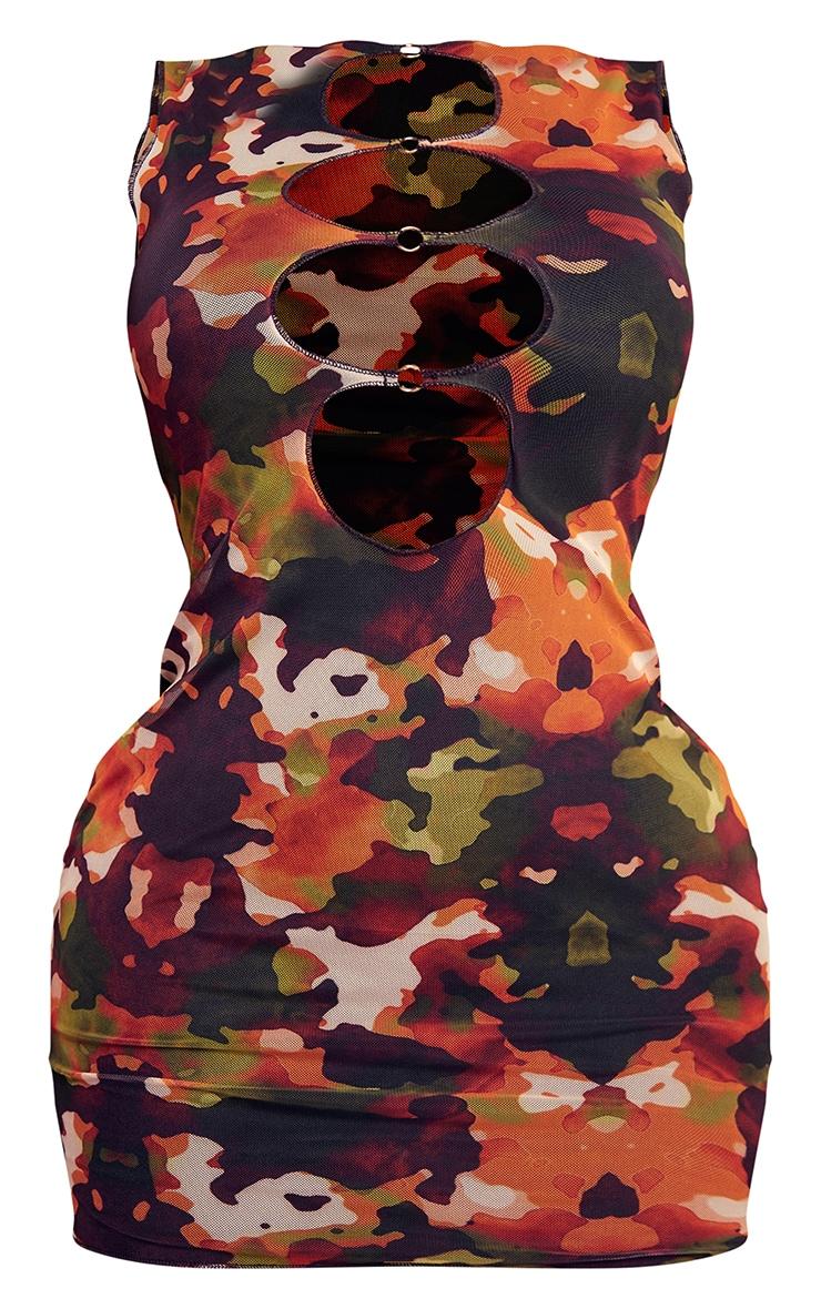 Shape Orange Camo Print Mesh Ring Detail Sleeveless Bodycon Dress 5