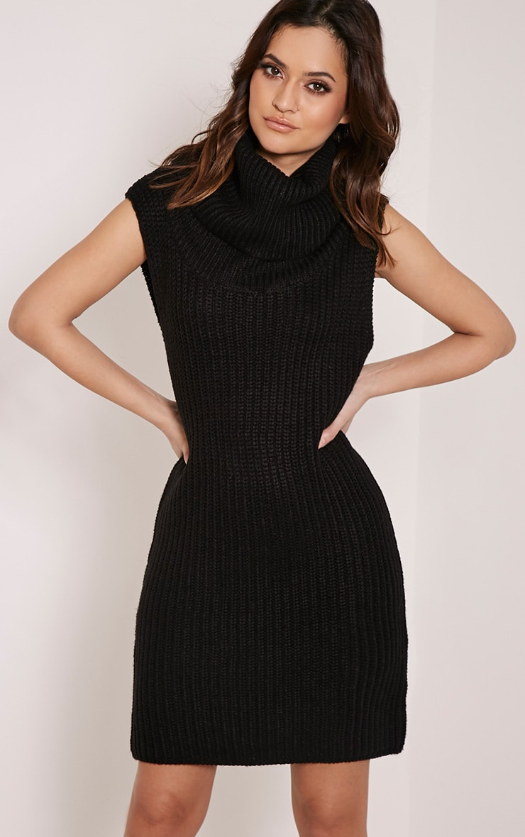 Kadence Black Roll Neck Jumper Dress 1