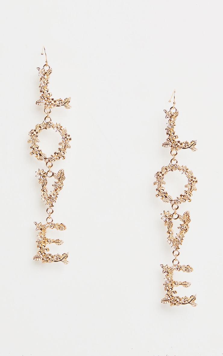 Gold Love Drop Earrings 2