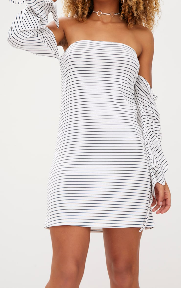 White Striped Ruched Sleeve Shift Dress 5