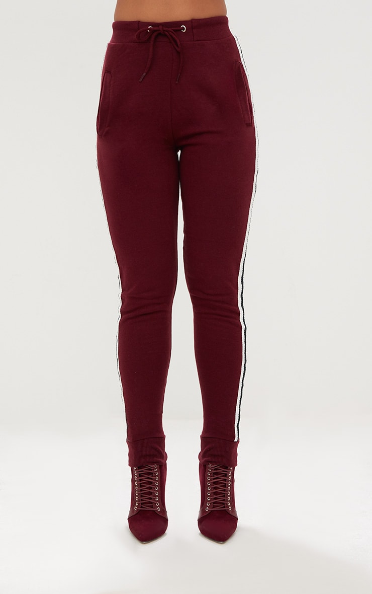 Burgundy Side Stripe Joggers 2