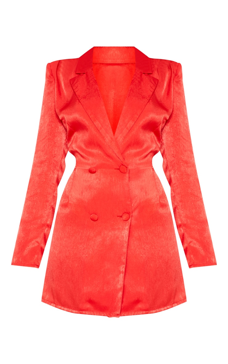 Red Satin Shoulder Pad Blazer Dress 3