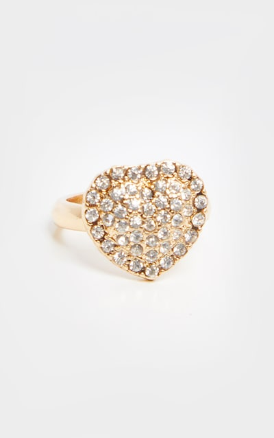 Gold Pave Set Diamante Heart Shaped Ring