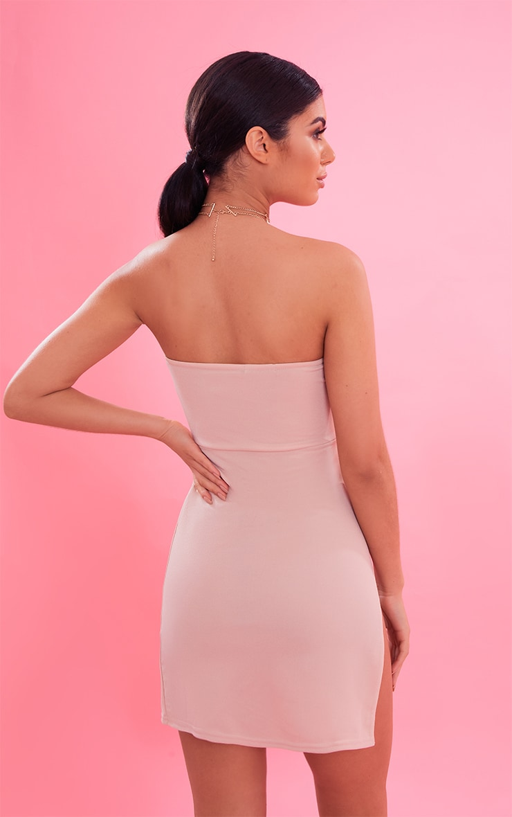 Nude Crepe Split Side Bandeau Bodycon Dress 3