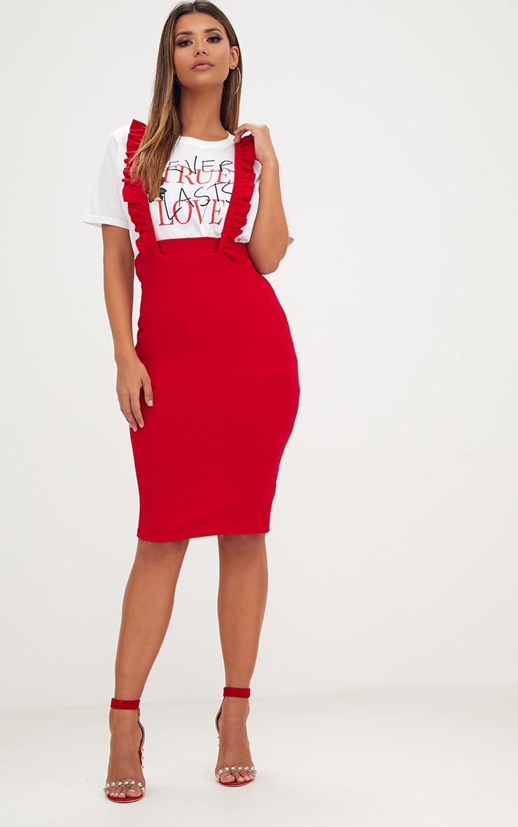 Red Frilly Brace Midi Skirt 4